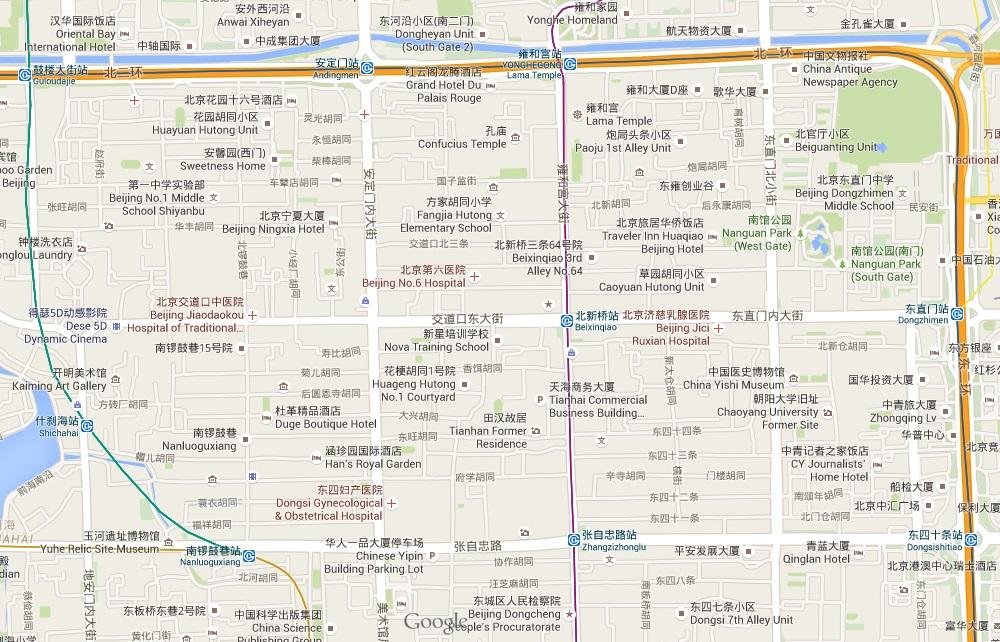 map hutongs Beijing