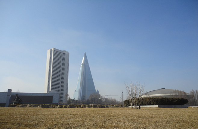 Ryugyong Hotel seen from the Victorious Fatherland Liberation War Museum